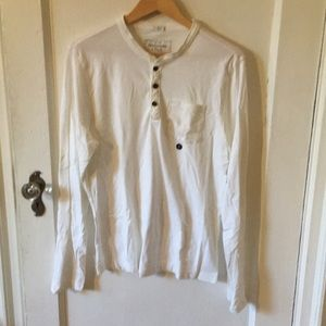 Abercrombie & Fitch White Henley Shirt